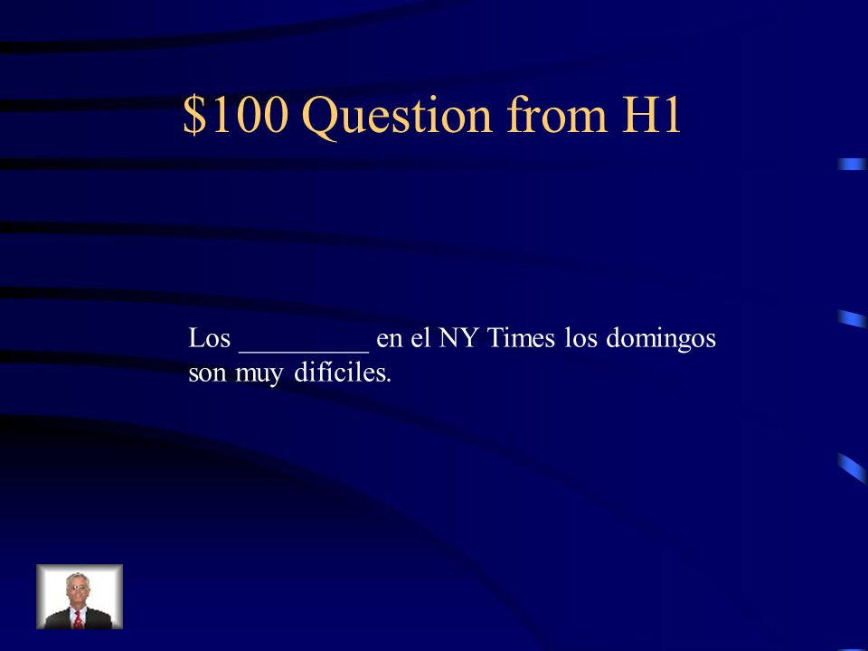 Jeopardy Vocab 2 Negative words Hacer Exp.