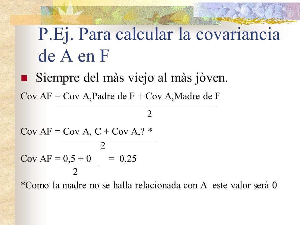 P.Ej. Para calcular la covariancia de A en F Siempre del màs viejo al màs jòven. Cov AF = Cov A,Padre de F + Cov A,Madre de F 2 Cov AF = Cov A, C + Co