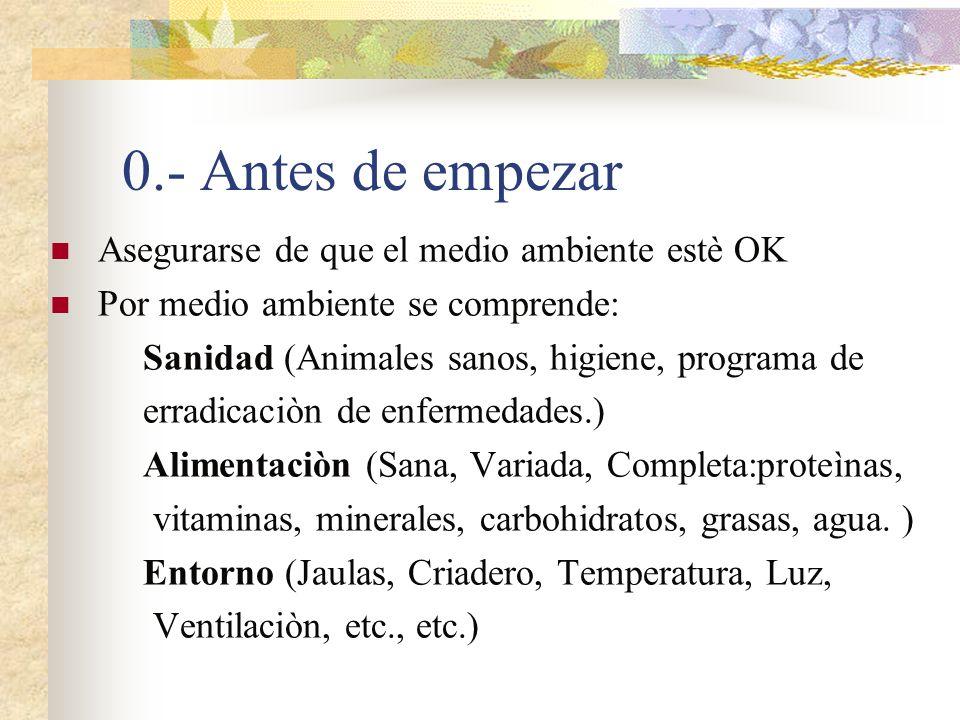 0.- Antes de empezar Asegurarse de que el medio ambiente estè OK Por medio ambiente se comprende: Sanidad (Animales sanos, higiene, programa de erradi