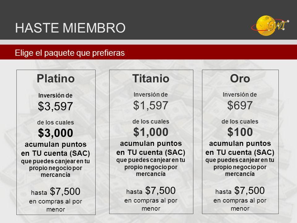 HASTE MIEMBRO Platino Inversión de $3,597 de los cuales $3,000 acumulan puntos en TU cuenta (SAC) que puedes canjear en tu propio negocio por mercancí