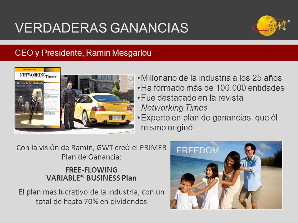 Con la visi ó n de Ramin, GWT cre ó el PRIMER Plan de Ganancia: FREE-FLOWING VARIABLE ® BUSINESS Plan El plan mas lucrativo de la industria, con un to