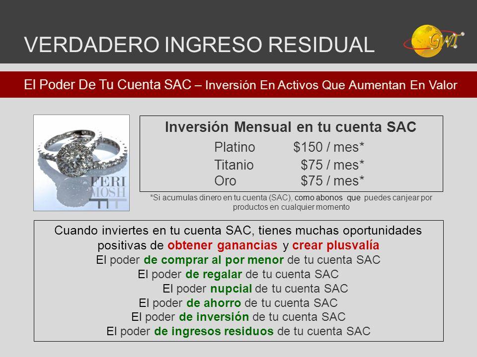 Inversión Mensual en tu cuenta SAC VERDADERO INGRESO RESIDUAL Cuando inviertes en tu cuenta SAC, tienes muchas oportunidades positivas de obtener gana