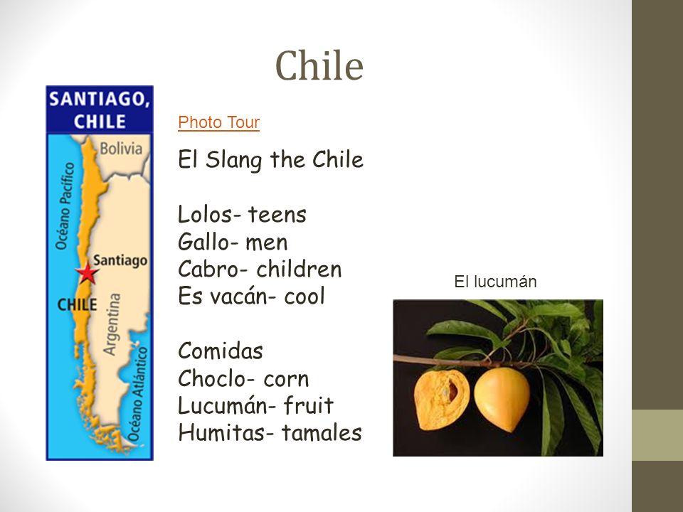 Chile Photo Tour El Slang the Chile Lolos- teens Gallo- men Cabro- children Es vacán- cool Comidas Choclo- corn Lucumán- fruit Humitas- tamales El luc