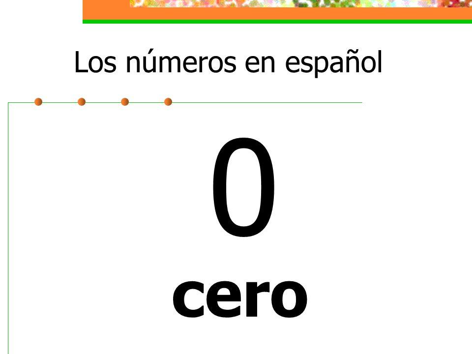 Los números en español 0 cero