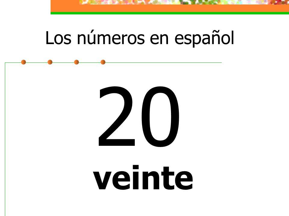 Los números en español 20 veinte