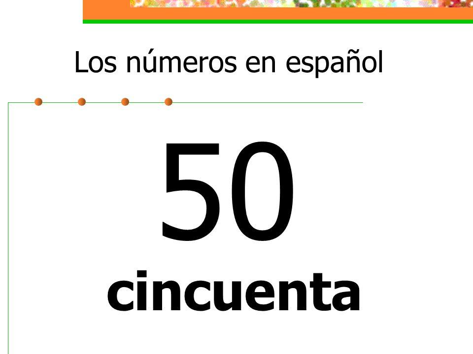 Los números en español 50 cincuenta