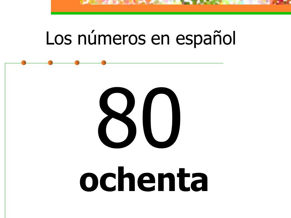 Los números en español 80 ochenta