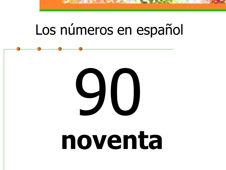 Los números en español 90 noventa