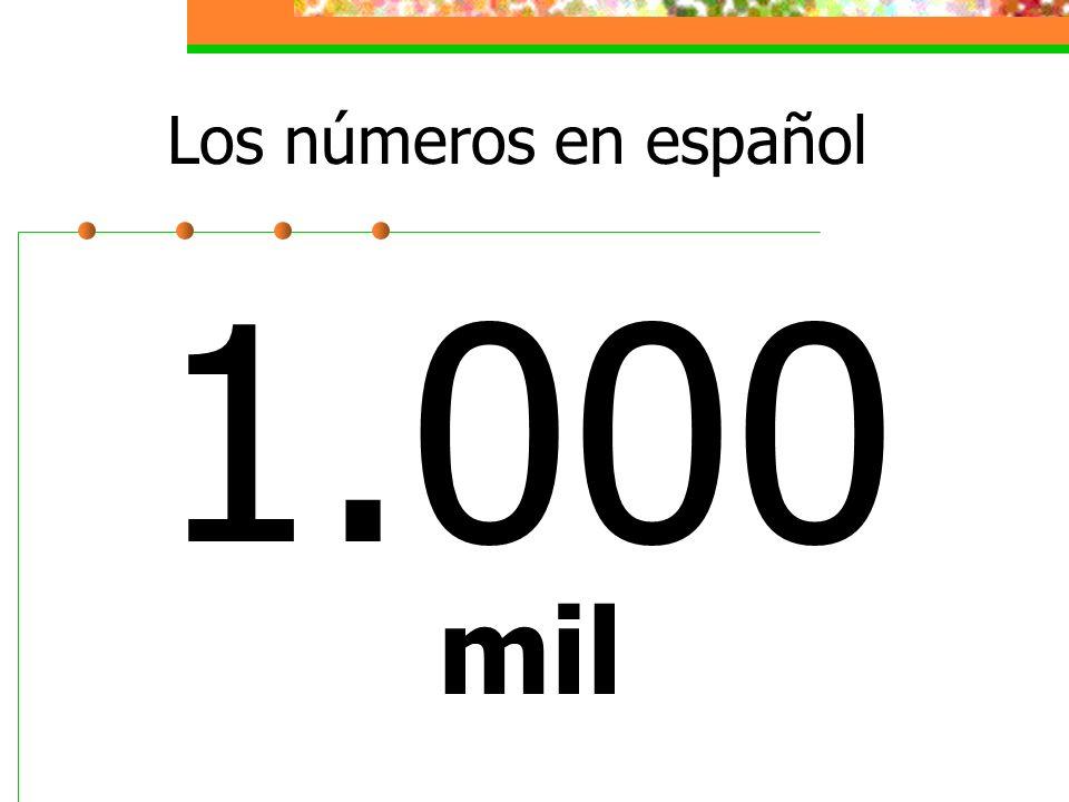 Los números en español 1.000 mil