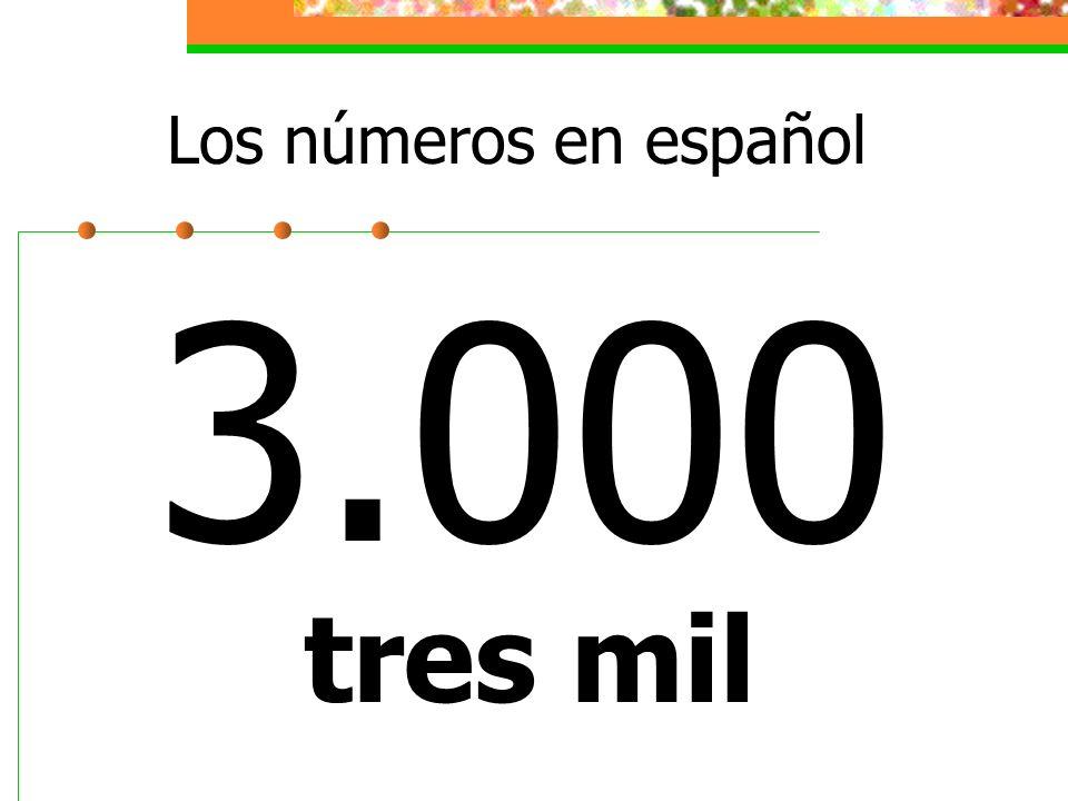 Los números en español 3.000 tres mil