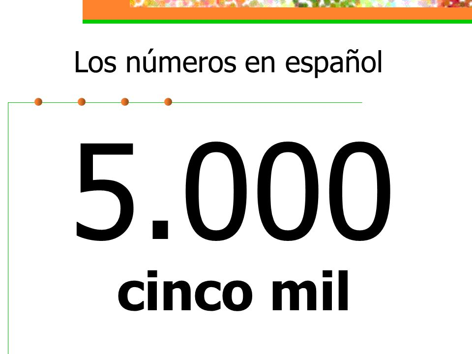Los números en español 5.000 cinco mil
