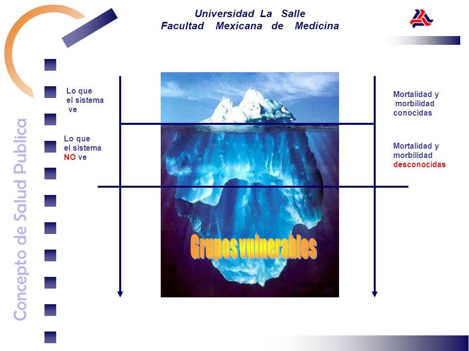 Concepto de Salud Publica Universidad La Salle Facultad Mexicana de Medicina Lo que el sistema ve Lo que el sistema NO ve Mortalidad y morbilidad cono
