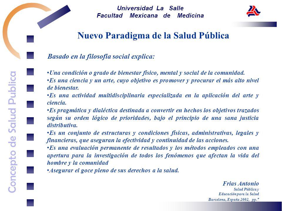 Concepto de Salud Publica Universidad La Salle Facultad Mexicana de Medicina Nuevo Paradigma de la Salud Pública Desde el Nivel Epistemológico explica: La Salud Pública es una disciplina perteneciente a las ciencias aplicadas.