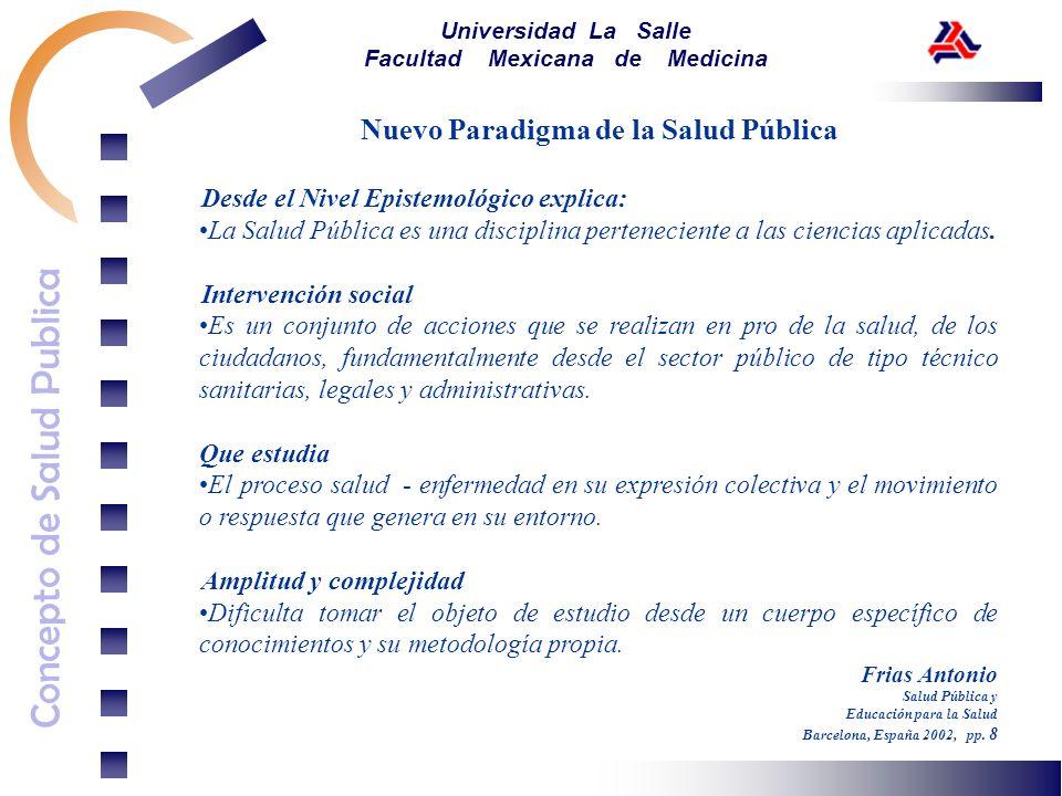 Concepto de Salud Publica Universidad La Salle Facultad Mexicana de Medicina Nuevo Paradigma de la Salud Pública Desde el Nivel Epistemológico explica