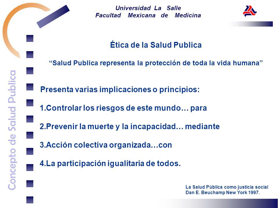 Concepto de Salud Publica Universidad La Salle Facultad Mexicana de Medicina Ética de la Salud Publica Controlar los riesgos de este mundo… Determinación y control de riesgos que existen.