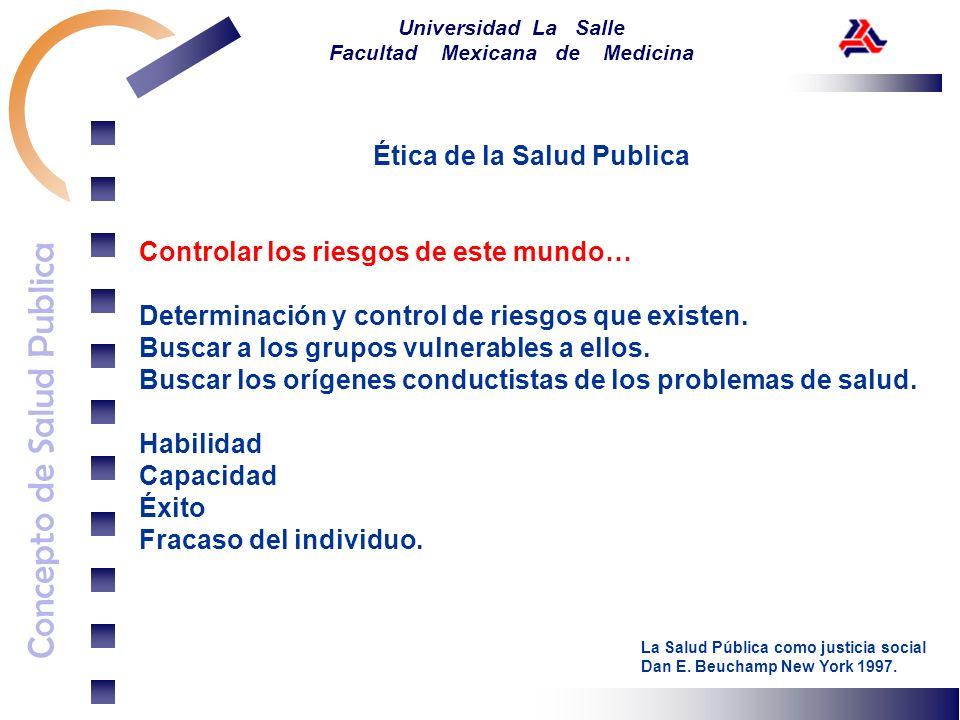 Concepto de Salud Publica Universidad La Salle Facultad Mexicana de Medicina Ética de la Salud Publica Controlar los riesgos de este mundo… Determinac