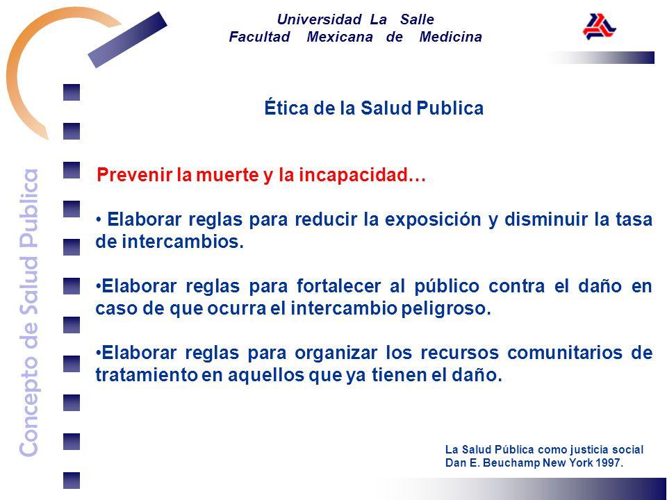 Concepto de Salud Publica Universidad La Salle Facultad Mexicana de Medicina Ética de la Salud Publica Prevenir la muerte y la incapacidad… Elaborar r
