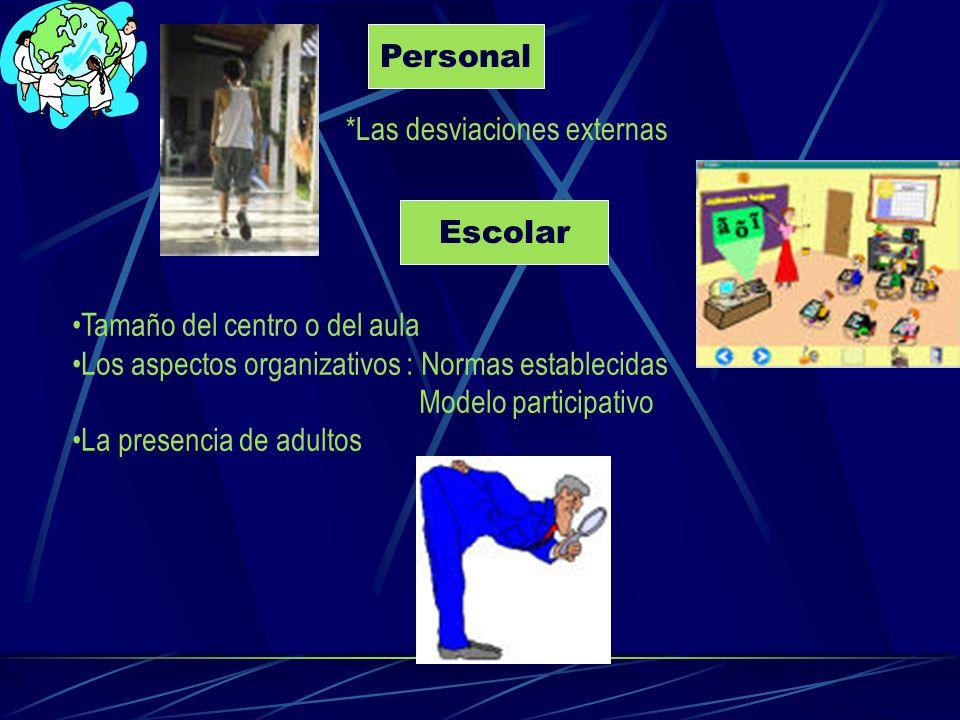 Personal *Las desviaciones externas Escolar Tamaño del centro o del aula Los aspectos organizativos : Normas establecidas Modelo participativo La pres