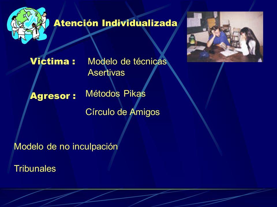 Atención Individualizada Victima : Modelo de técnicas Asertivas Agresor : Métodos Pikas Círculo de Amigos Modelo de no inculpación Tribunales