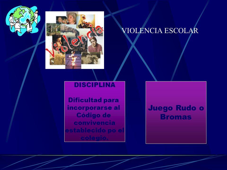 VIOLENCIA ESCOLAR DISCIPLINA Dificultad para incorporarse al Código de convivencia establecido po el colegio. Juego Rudo o Bromas