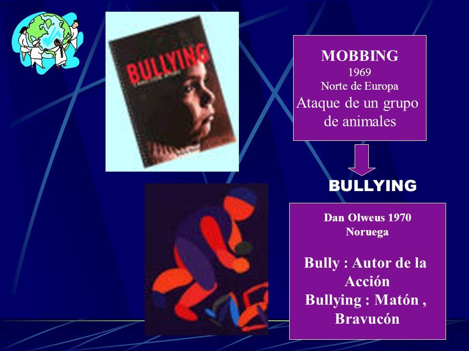 MOBBING 1969 Norte de Europa Ataque de un grupo de animales Dan Olweus 1970 Noruega Bully : Autor de la Acción Bullying : Matón, Bravucón BULLYING