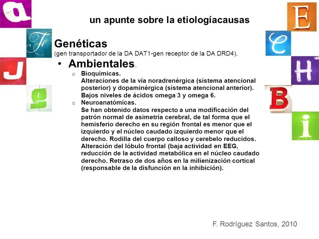 un apunte sobre la etiologíacausas Genéticas (gen transportador de la DA DAT1-gen receptor de la DA DRD4). Ambientales. o Bioquímicas. Alteraciones de