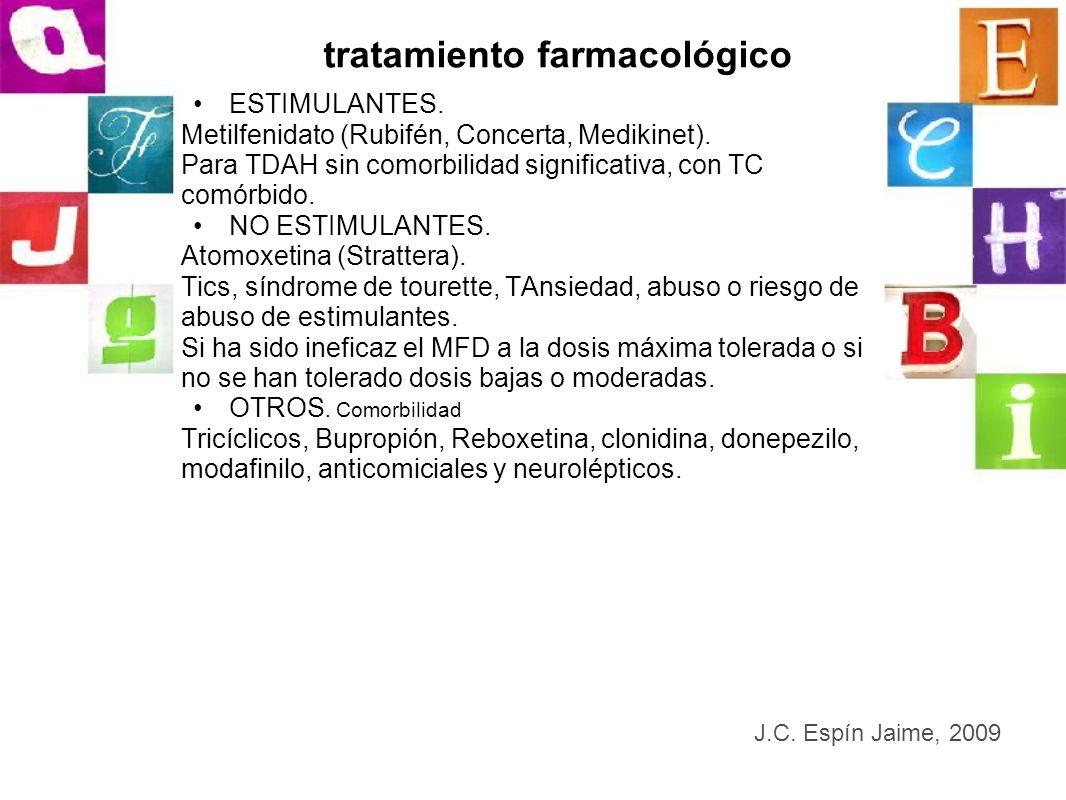 tratamiento farmacológico ESTIMULANTES. Metilfenidato (Rubifén, Concerta, Medikinet). Para TDAH sin comorbilidad significativa, con TC comórbido. NO E