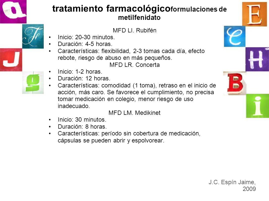 tratamiento farmacológico formulaciones de metilfenidato MFD LI. Rubifén Inicio: 20-30 minutos. Duración: 4-5 horas. Características: flexibilidad, 2-