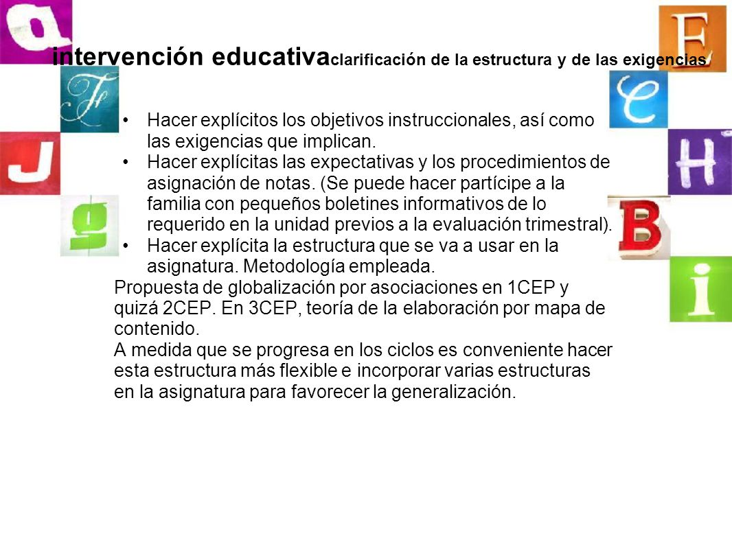 intervención educativa clarificación de la estructura y de las exigencias Hacer explícitos los objetivos instruccionales, así como las exigencias que