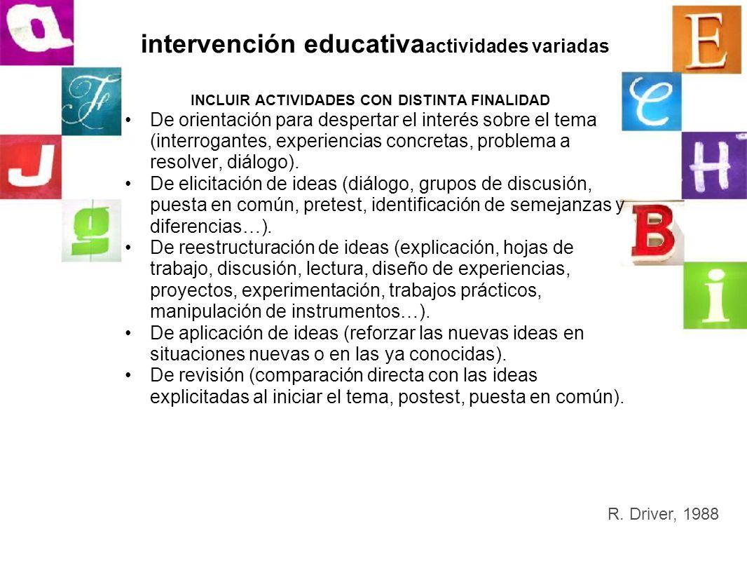 intervención educativa actividades variadas INCLUIR ACTIVIDADES CON DISTINTA FINALIDAD De orientación para despertar el interés sobre el tema (interro