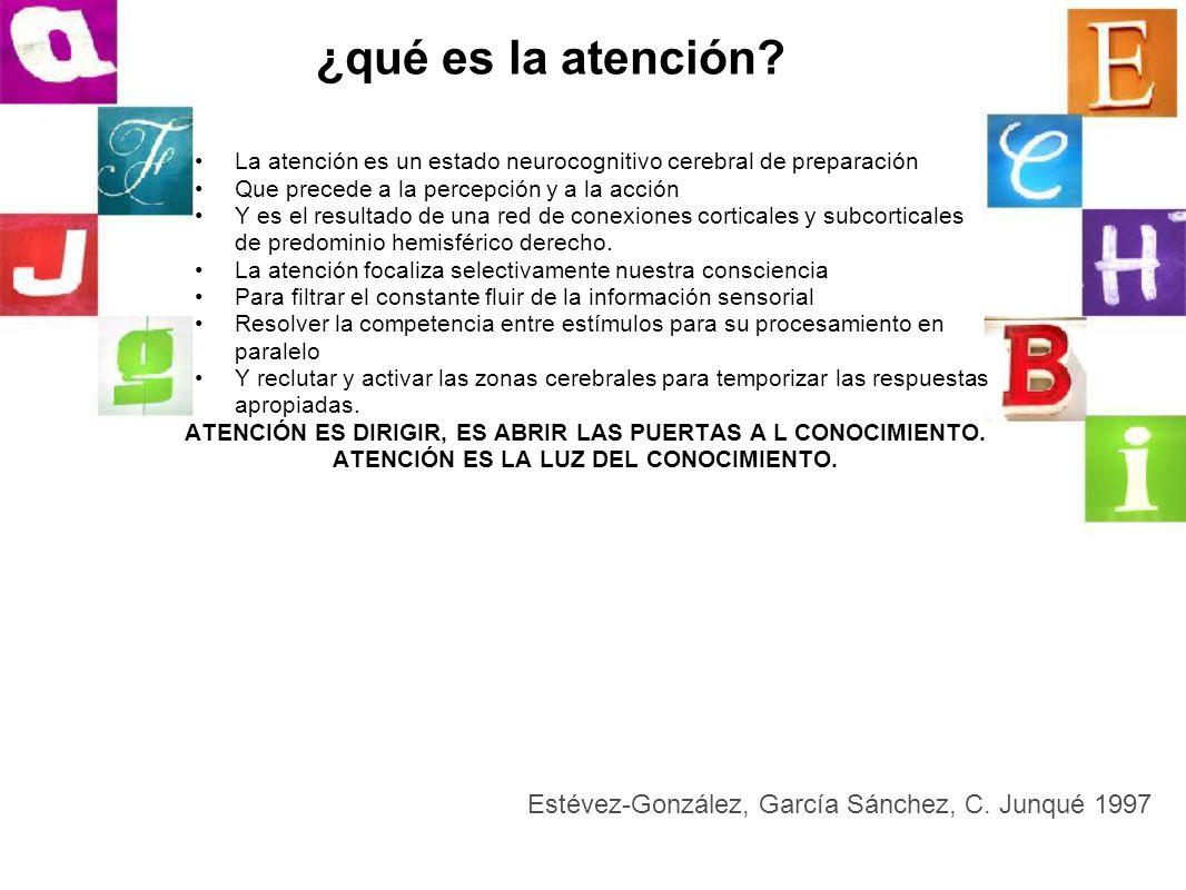 ¿qué es la atención? La atención es un estado neurocognitivo cerebral de preparación Que precede a la percepción y a la acción Y es el resultado de un