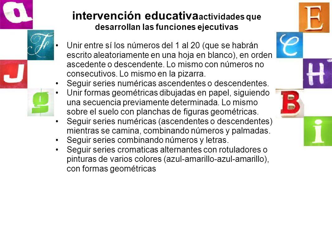intervención educativa actividades que desarrollan las funciones ejecutivas Unir entre sí los números del 1 al 20 (que se habrán escrito aleatoriament