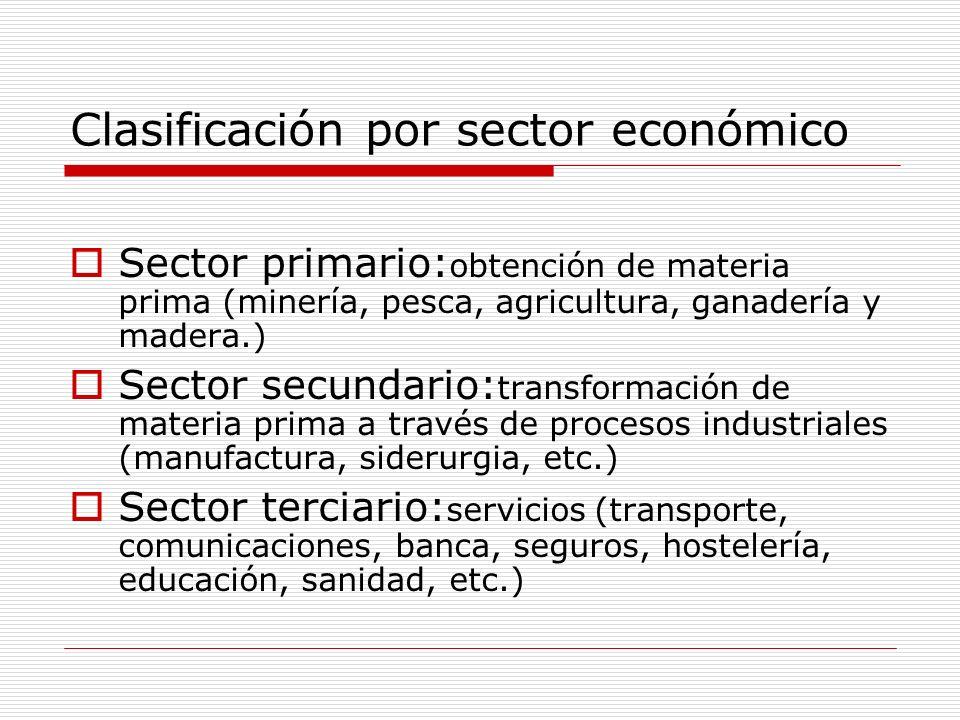 Clasificación por sector económico Sector primario: obtención de materia prima (minería, pesca, agricultura, ganadería y madera.) Sector secundario: t