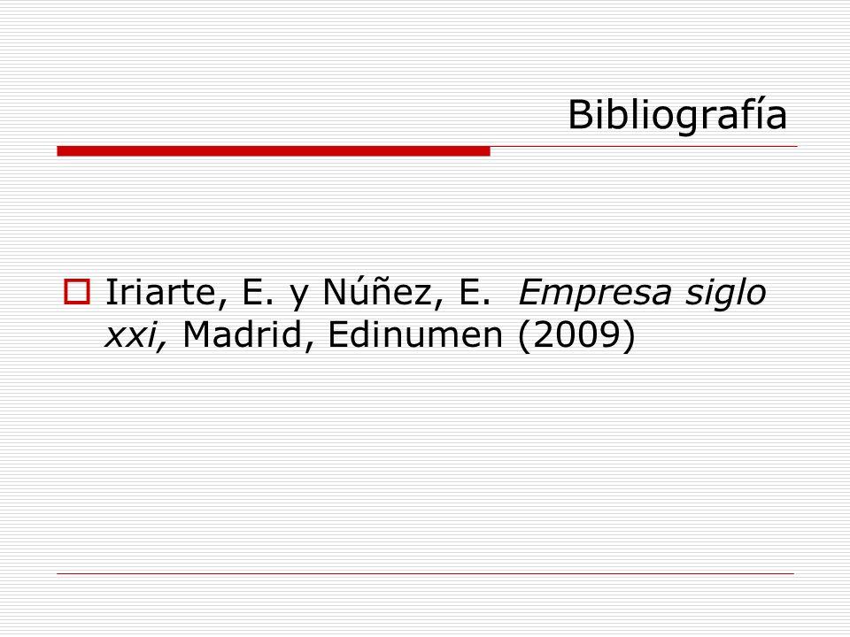 Bibliografía Iriarte, E. y Núñez, E. Empresa siglo xxi, Madrid, Edinumen (2009)