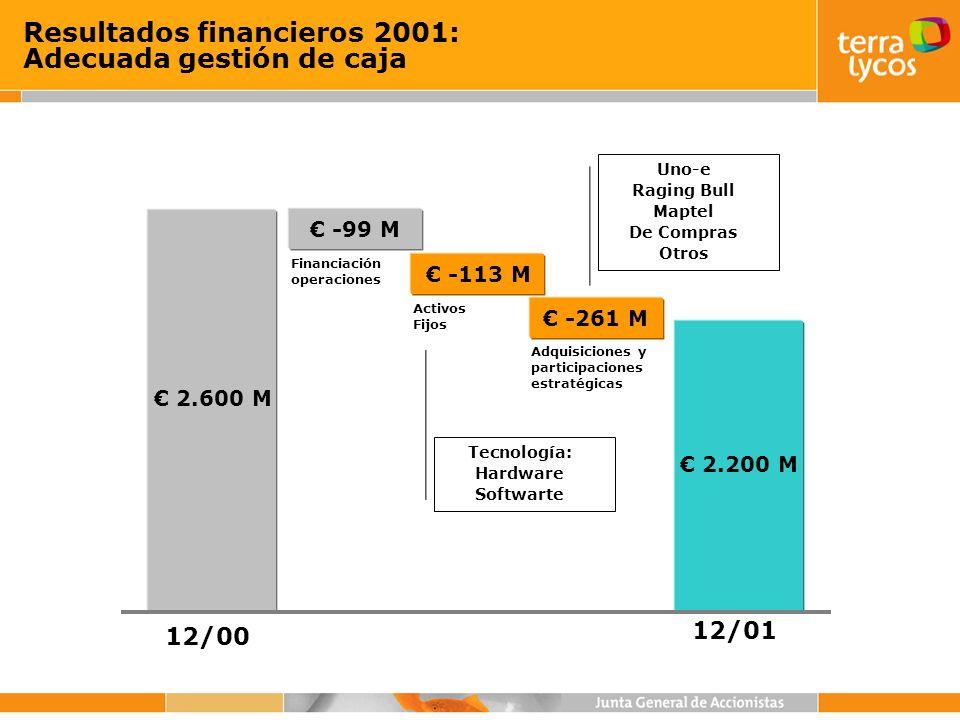 Resultados financieros 2001: Adecuada gestión de caja 2.600 M 2.200 M 12/00 12/01 -99 M Financiación operaciones Adquisiciones y participaciones estra