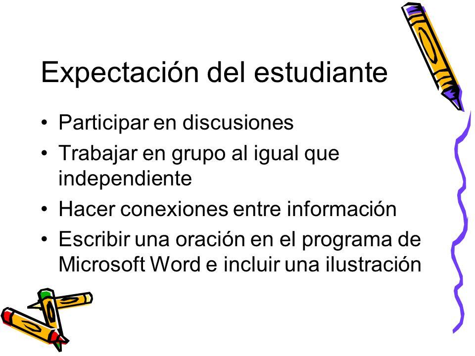 Expectación del estudiante Participar en discusiones Trabajar en grupo al igual que independiente Hacer conexiones entre información Escribir una orac