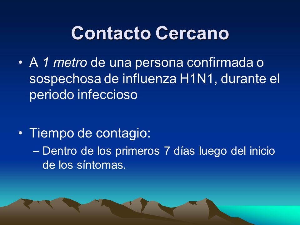 Definición de Caso Caso confirmado –Persona con enfermedad respiratoria aguda con diagnóstico confirmado por laboratorio de Influenza A H1N1 por uno d