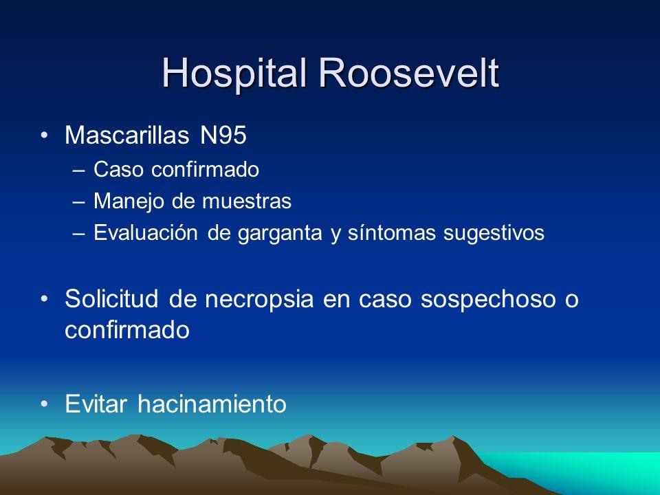 Hospital Roosevelt Tamizaje a todos los pacientes en base a boleta Medidas de prevención y aislamiento respiratorio Restricción visitas –No hay en MC