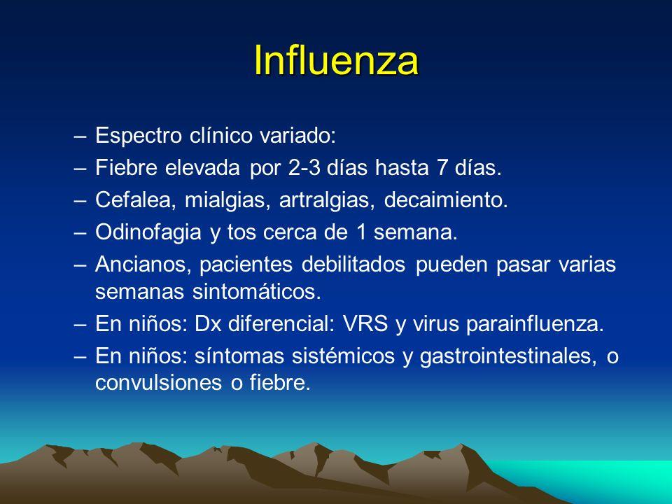 Virus de Influenza –Los cambios antigénicos menores (drift) suceden a nivel local y suceden cada 2-3 años. –Los cambios antigénicos mayores (shift), p