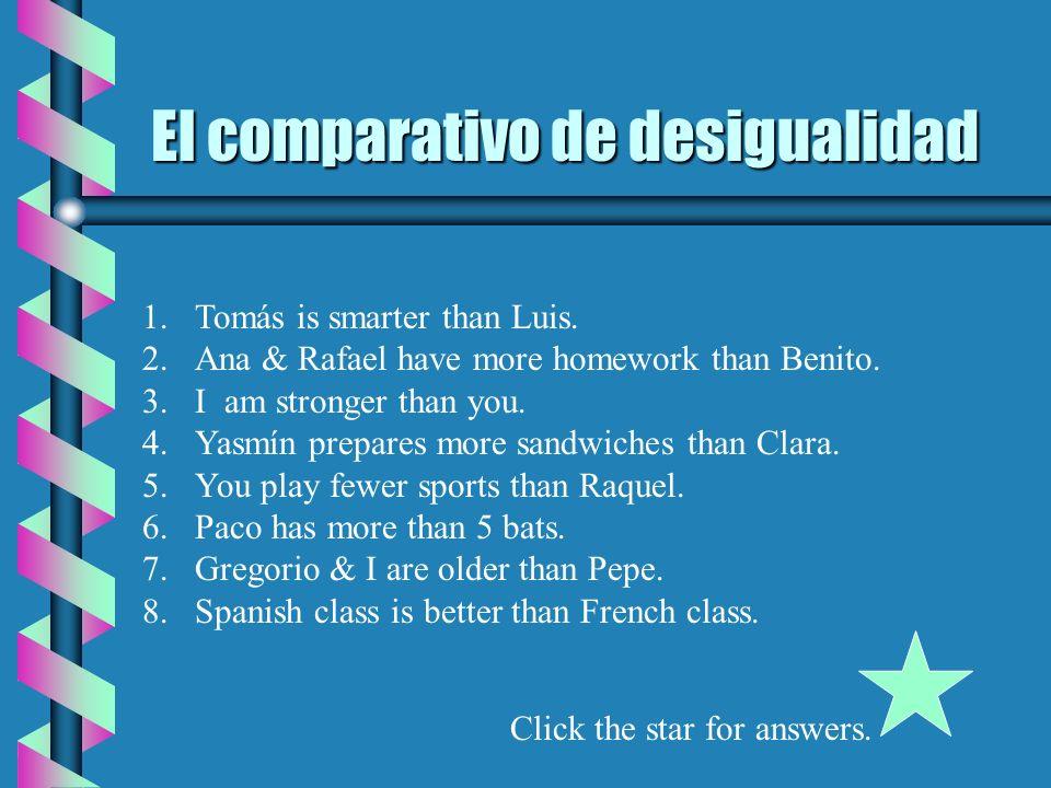 El comparativo de desigualidad 1.Tomás is smarter than Luis.