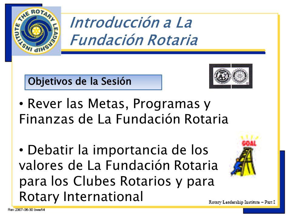 ç Rever las Metas, Programas y Finanzas de La Fundación Rotaria Debatir la importancia de los valores de La Fundación Rotaria para los Clubes Rotarios