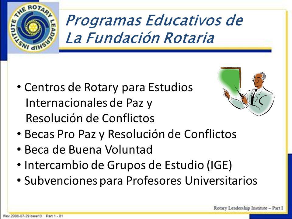 Programas Educativos de La Fundación Rotaria Centros de Rotary para Estudios Internacionales de Paz y Resolución de Conflictos Becas Pro Paz y Resoluc