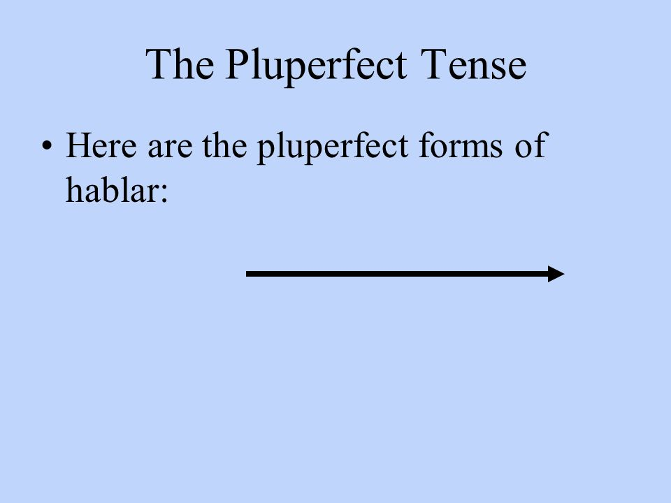The Pluperfect Tense Here are the pluperfect forms of hablar: