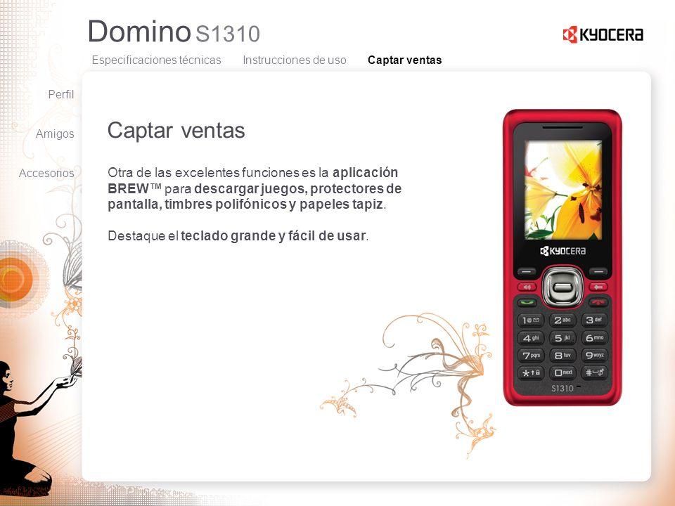 Domino S1310 Captar ventas Otra de las excelentes funciones es la aplicación BREW para descargar juegos, protectores de pantalla, timbres polifónicos