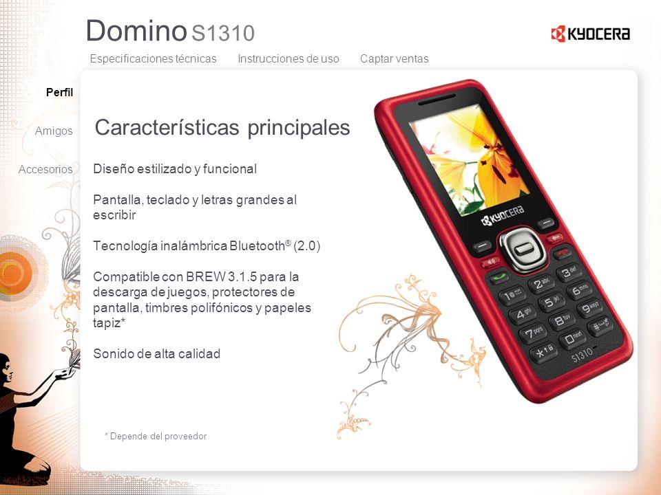 Domino S1310 Características principales Diseño estilizado y funcional Pantalla, teclado y letras grandes al escribir Tecnología inalámbrica Bluetooth
