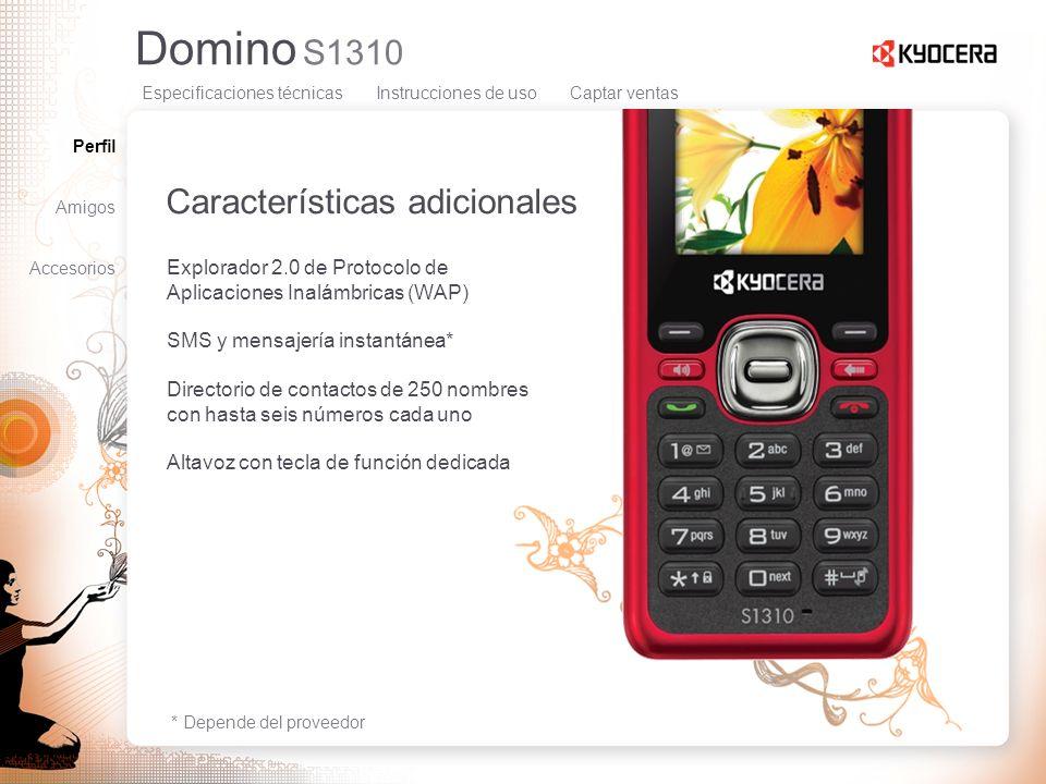 Domino S1310 Características adicionales Explorador 2.0 de Protocolo de Aplicaciones Inalámbricas (WAP) SMS y mensajería instantánea* Directorio de co