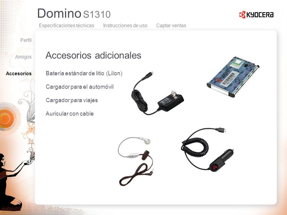 Domino S1310 Accesorios adicionales Batería estándar de litio (LiIon) Cargador para el automóvil Cargador para viajes Auricular con cable Perfil Amigo