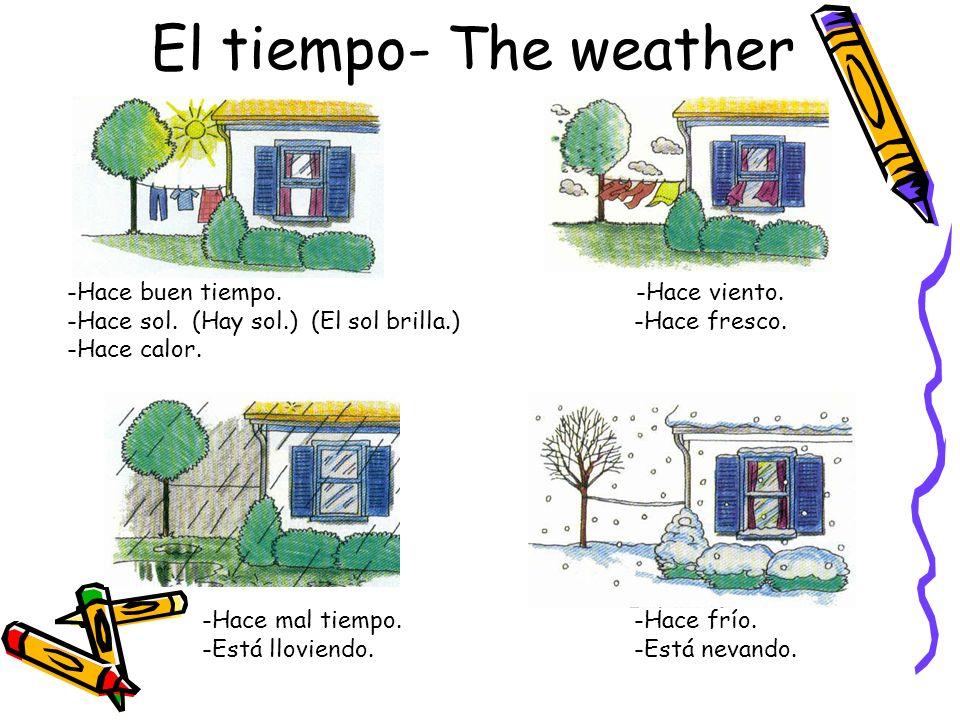 El tiempo- The weather -Hace buen tiempo. -Hace sol. (Hay sol.) (El sol brilla.) -Hace calor. -Hace viento. -Hace fresco. -Hace mal tiempo. -Está llov