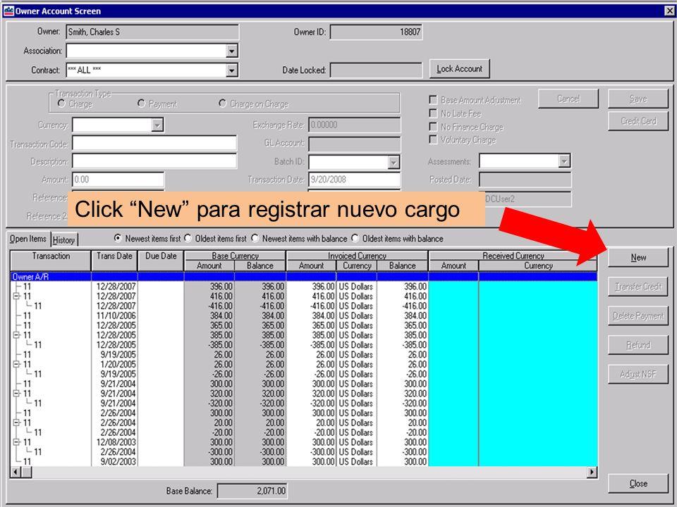 Click New para registrar nuevo cargo
