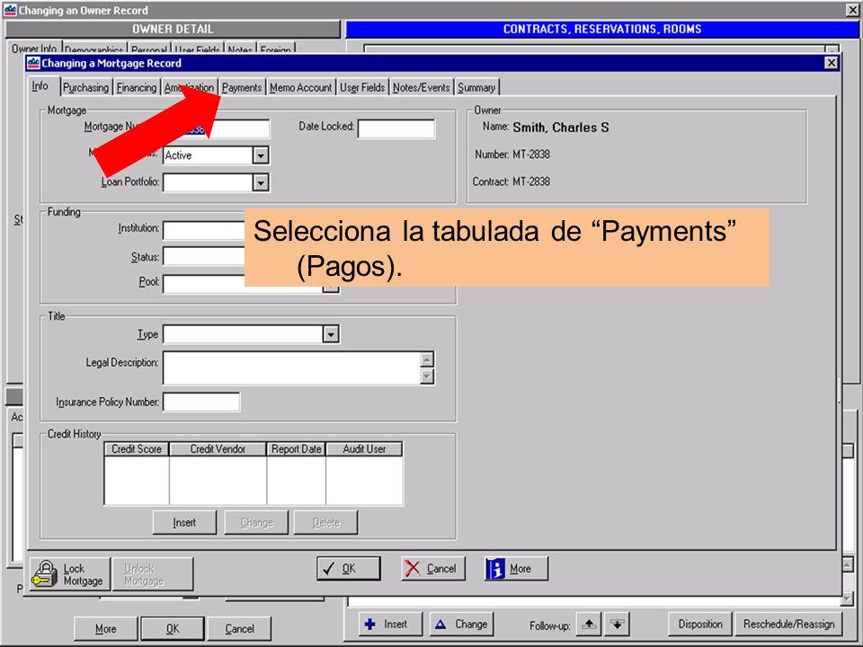 Selecciona la tabulada de Payments (Pagos).